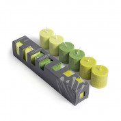 Blockkerzenböxli lindengrün-tannengrün-hellgrün